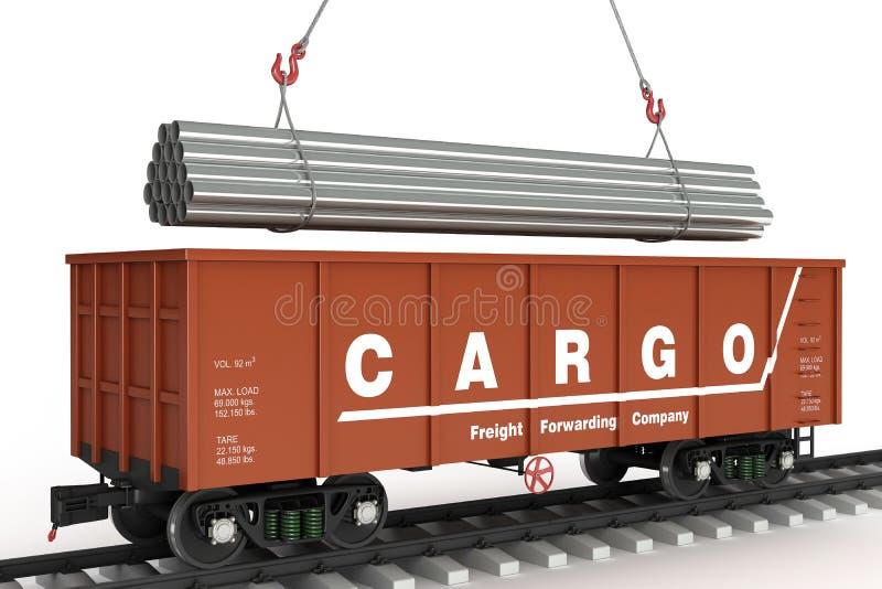 Tubulações da carga no vagão. ilustração stock