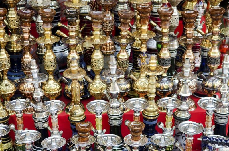 Tubulações de água do shisha de Narguileh no Cairo Egipto fotografia de stock royalty free