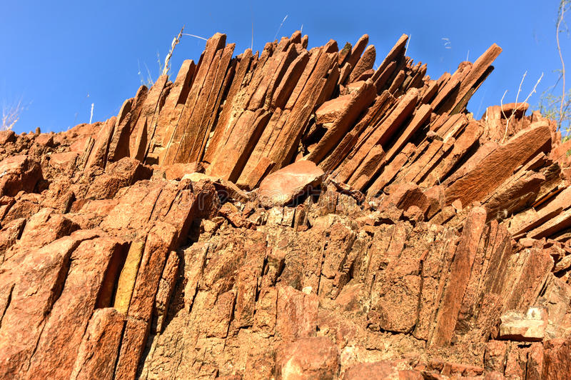 Tubulações de órgão - Twyfelfontein, Damaraland, Namíbia imagem de stock royalty free