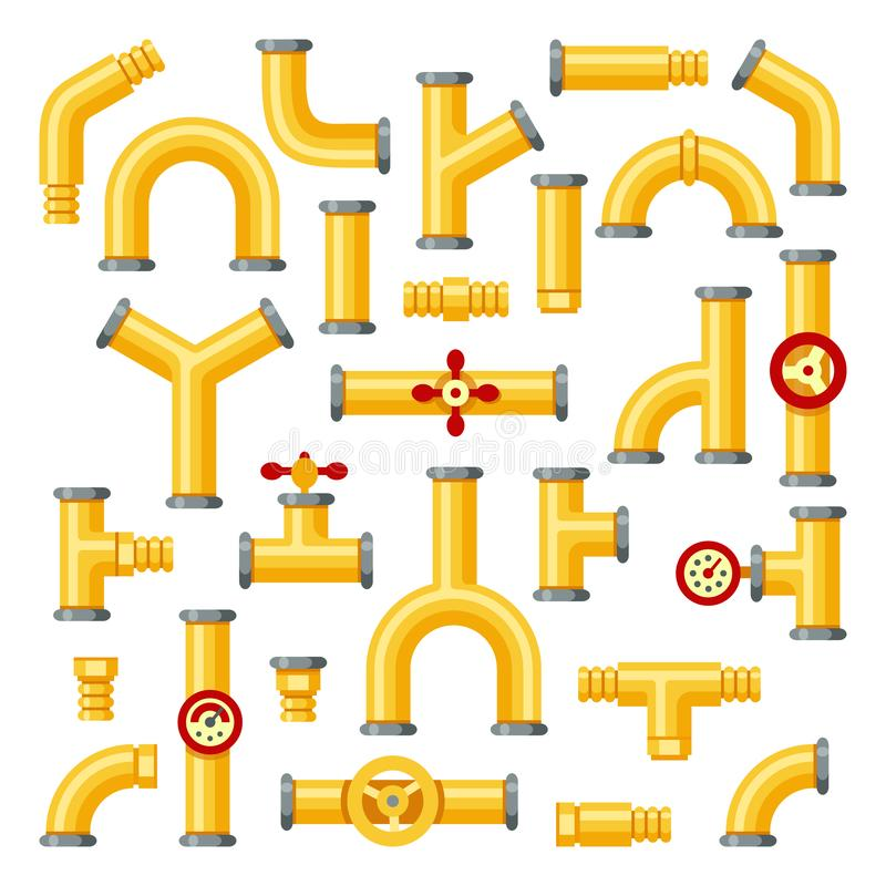 Tubulações de aço amarelas Tubulações amarelas industriais, construção da tubulação com válvulas e grupo isolado encanamentos do  ilustração stock