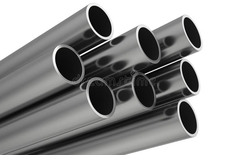 Tubulações de aço em um fundo branco ilustração stock