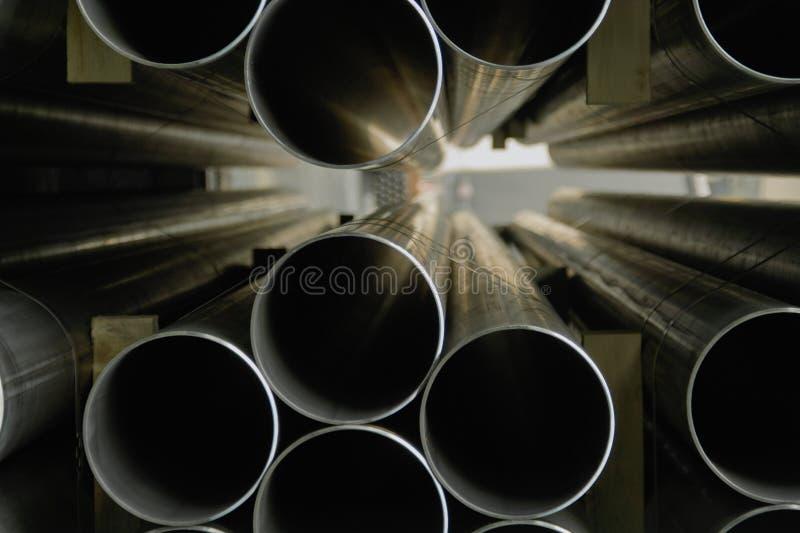 Tubulações de aço industriais fotografia de stock royalty free