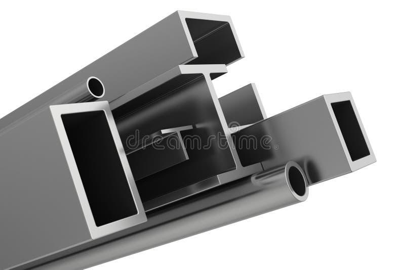 Tubulações de aço inoxidável e perfis em um branco ilustração stock
