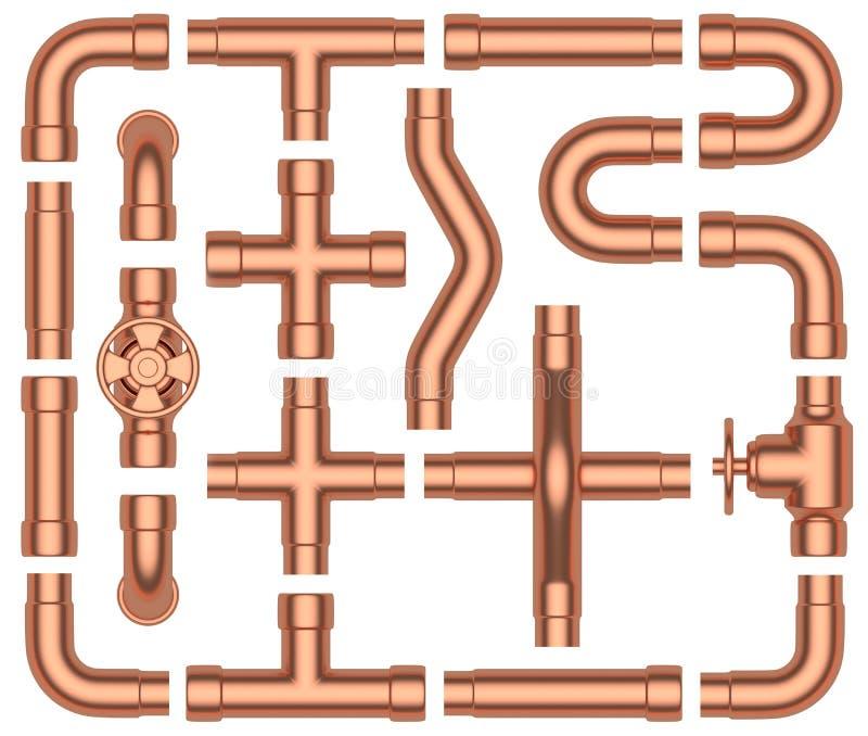 Tubulações de cobre ajustadas ilustração royalty free