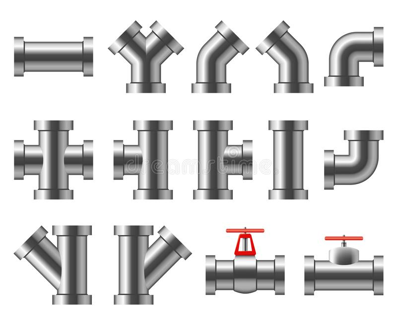 Tubulações de prata Encanamento do alumínio e do cromo Encaixes de tubulação, grupo do vetor do tubo da água ilustração do vetor