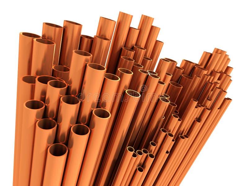 tubulações do cobre 3d ilustração do vetor