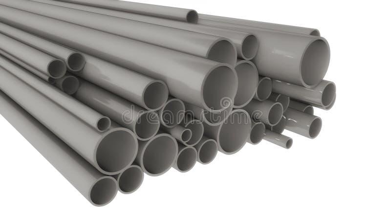 Tubulações do metal de formas e de tamanhos diferentes ilustração stock