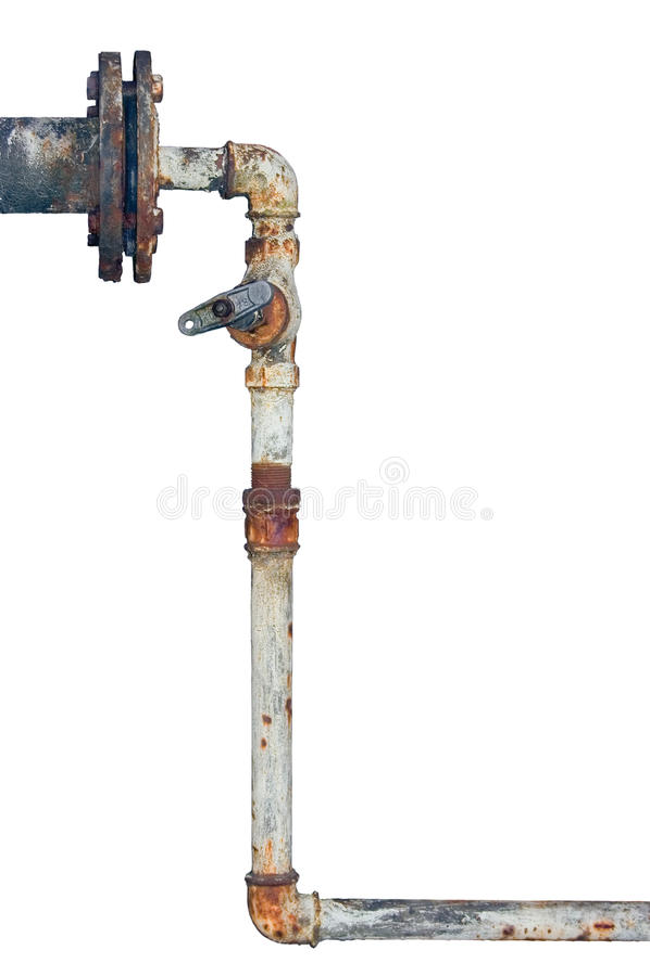 Tubulações oxidadas velhas encanamento isolado resistido envelhecido foto de stock royalty free