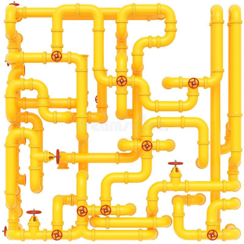 Tubula??es de g?s amarelas em um fundo branco fotografia de stock royalty free
