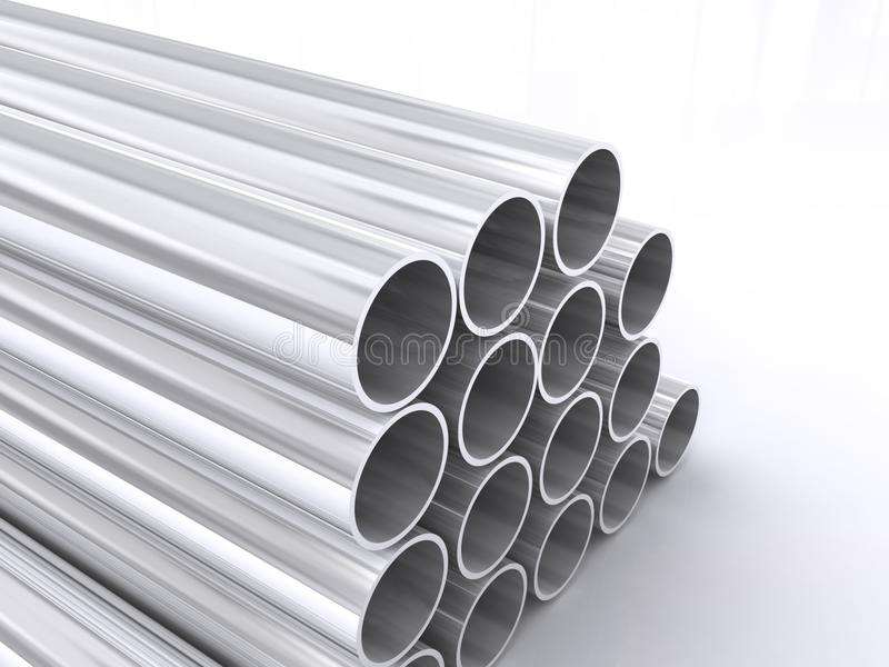 Tubular metal pipes stock illustration