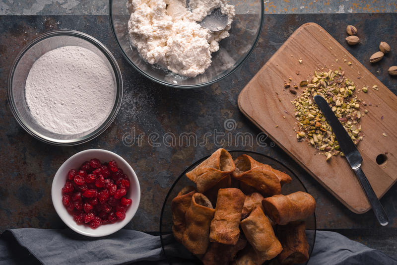 Tubules and ingredients for cannoli Italian dessert royalty free stock image