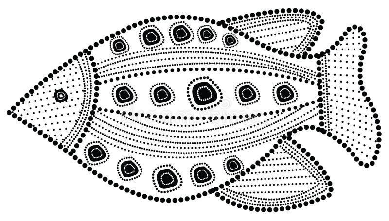 Tubylcza sztuki ryba ilustracja ilustracja wektor