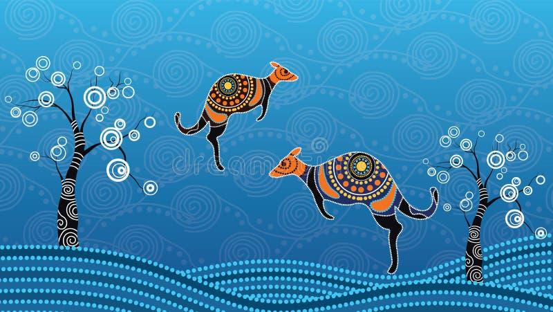 Tubylczej sztuki wektorowy obraz z kangurem Opierający się na aborygenu stylu krajobrazowy kropki tło ilustracja wektor
