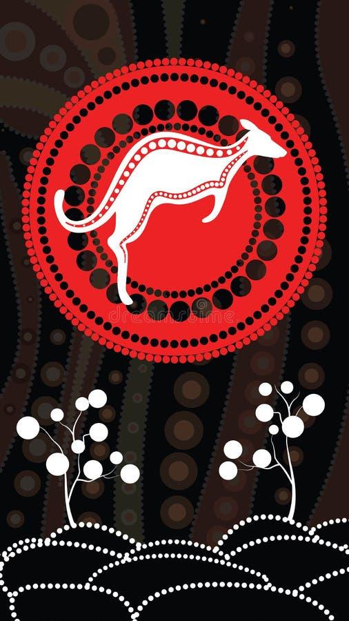 Tubylczej sztuki wektorowy tło, natury pojęcie, kropki sztuka obraz z kangurem, wzgórze i drzewo, ilustracji