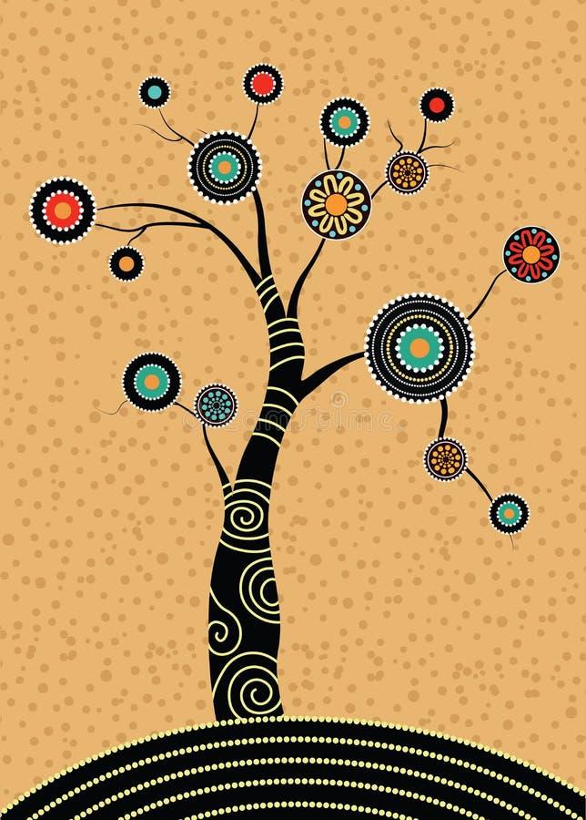 Tubylczy drzewo, Tubylczej sztuki wektorowy obraz z drzewem ilustracji