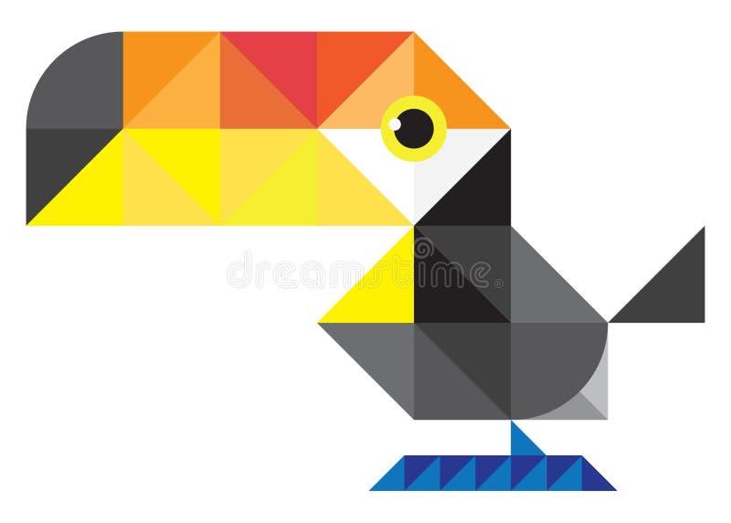 Tucán creado de elementos triangulares stock de ilustración