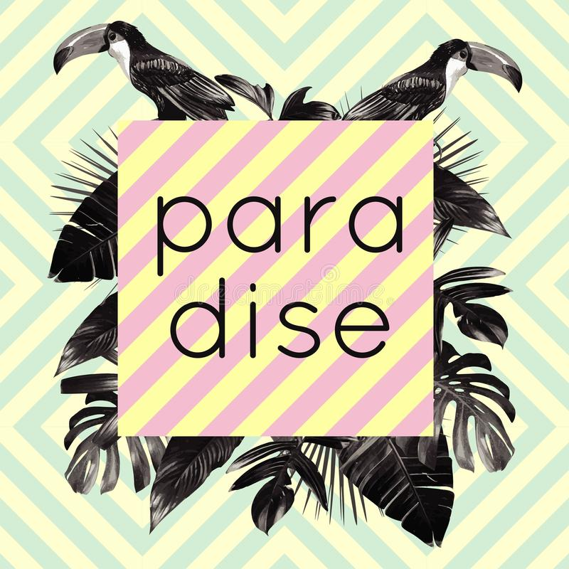 Tucán e impresión del paraíso de las plantas tropicales ilustración del vector