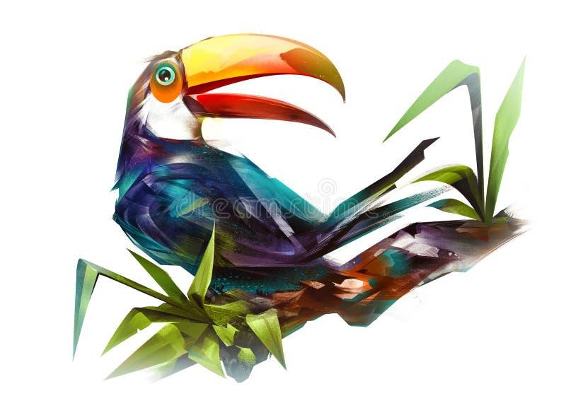 Tucán pintado del pájaro en una rama en un fondo blanco stock de ilustración