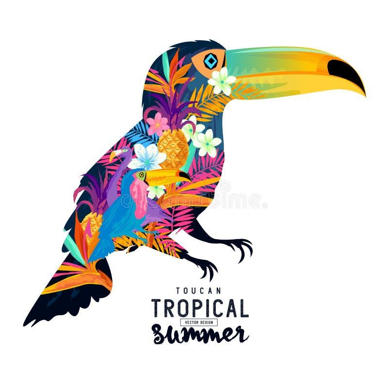 Tucán tropical del verano stock de ilustración