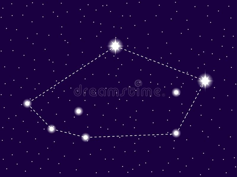 Tucana constellation. Starry night sky. Zodiac sign. Cluster of stars and galaxies. Deep space. Vector. Illustration stock illustration