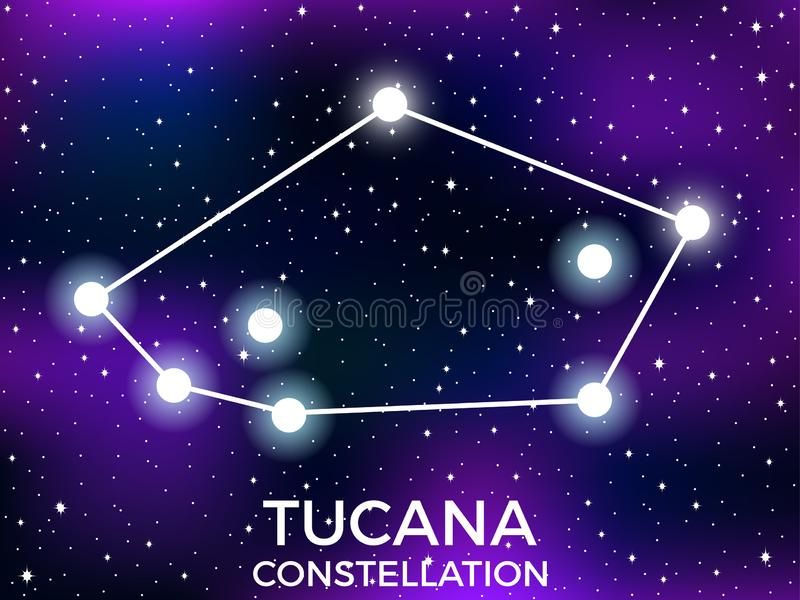Tucana constellation. Starry night sky. Zodiac sign. Cluster of stars and galaxies. Deep space. Vector. Illustration royalty free illustration