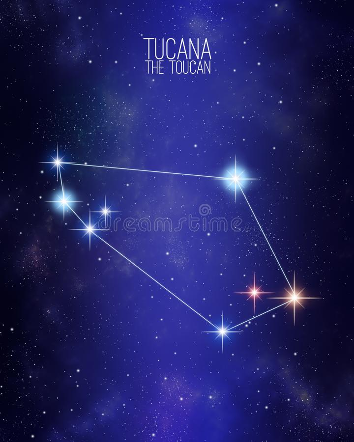 Tucana the toucan constellation map on a starry space background. Stars relative sizes and color shades based on their spectral vector illustration