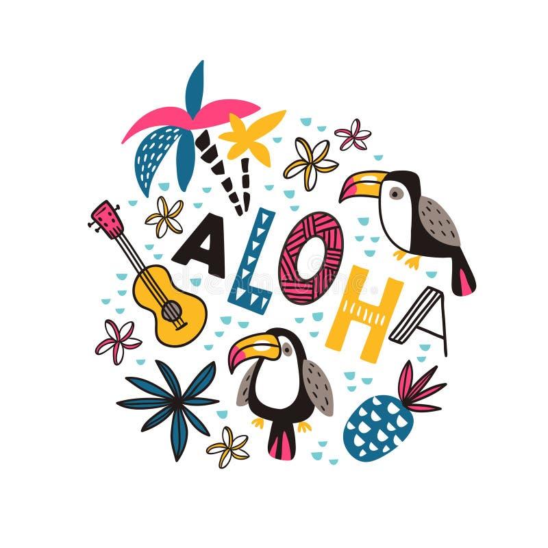 Tucanos e ` decorativo do ` da frase ALOHA no fundo branco Projeto tropical brilhante para o t-shirt ou o cartaz Ilustração do ve ilustração stock