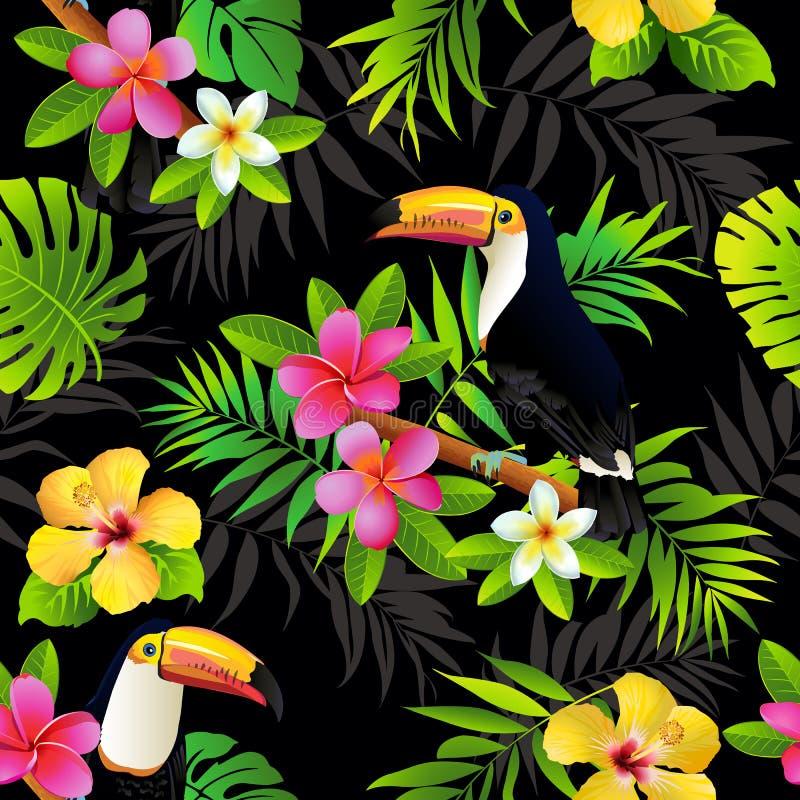 Tucanos tropicais dos pássaros e fundo sem emenda das folhas de palmeira Vetor ilustração stock