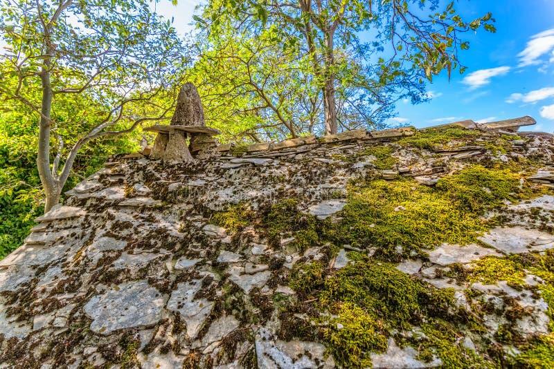 Tucepi village house in ruins. Ruins of typical house in Tucepi old village in the slope of a mountain Biokovo stock photo