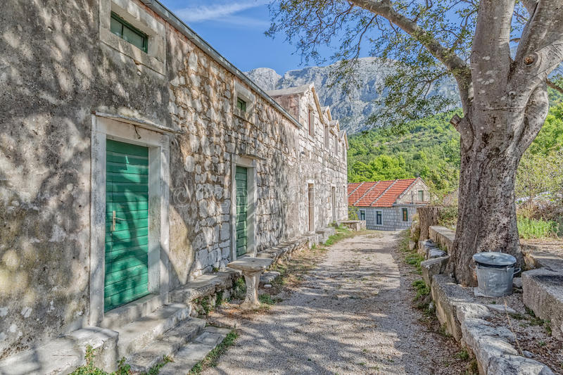 Tucepi village house. Typical house in Tucepi old village in the slope of a mountain Biokovo. Tree shadow texture on the facade royalty free stock photography