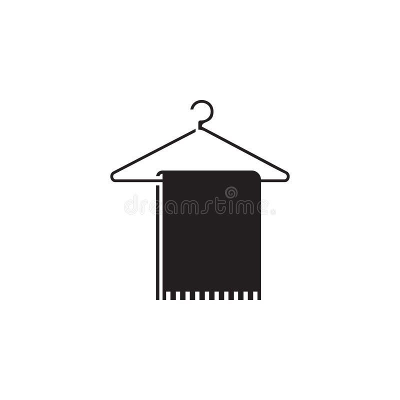 Tuch auf einer Aufhängerikone Elemente der Strandurlaubikone Erstklassiges Qualitätsgrafikdesign Zeichen und Symbolikone für Webs lizenzfreie abbildung