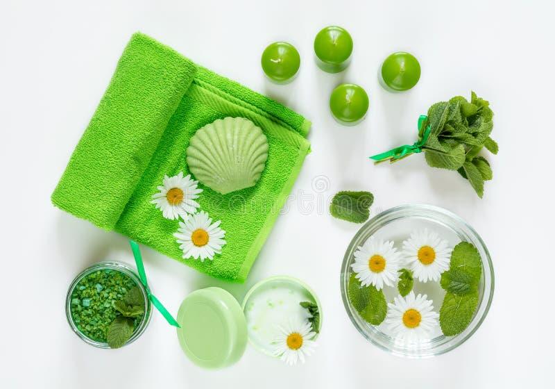 Tuch, Massagesteine und exotische Blume Flaches Konzept der Lage grüne Farb stockbilder