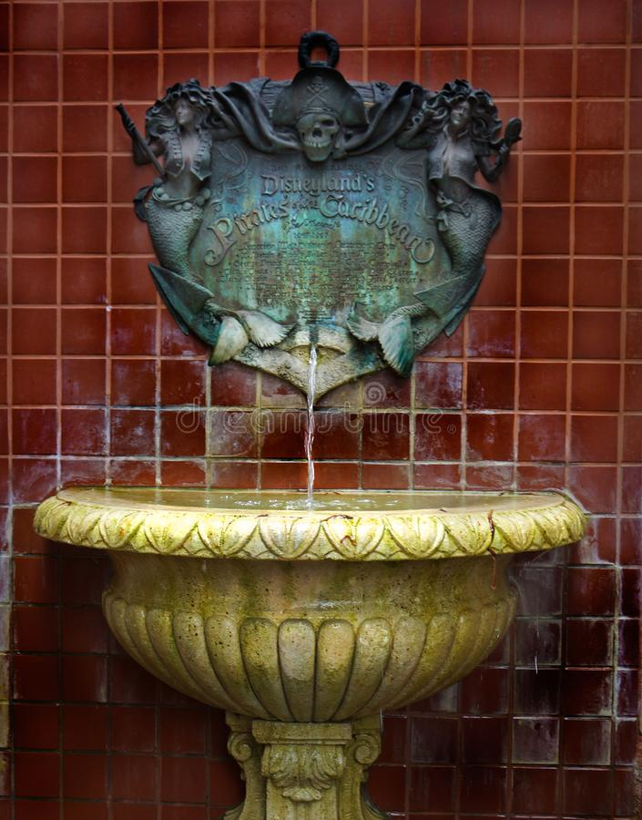 Pirates of the Caribbean Fountain at Disneyland royalty free stock photos