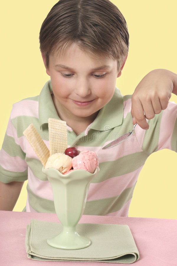 Download Tucking into a sundae stock photo. Image of people, frozen - 348244