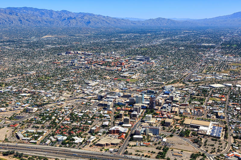 Tucson, Arizona. Aerial view including downtown and the University of Arizona campus stock image