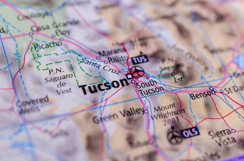 Tucson, Arizona en mapa foto de archivo