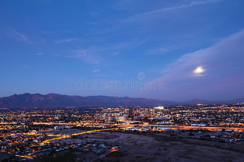 The Tucson city center at night. The Tucson, Arizona city center at night stock images