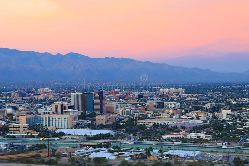 The Tucson city center at twilight. The Tucson, Arizona city center at twilight royalty free stock image