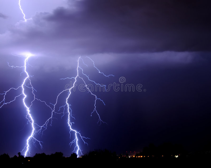 Tucson Lightning. Over the valley royalty free stock image