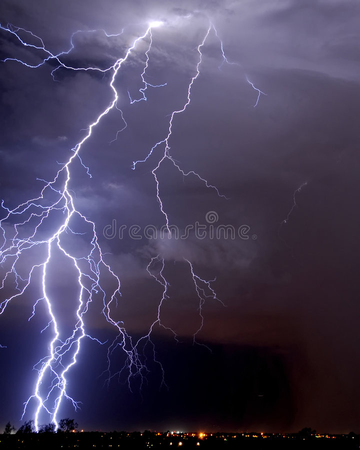 Tucson Lightning. Over the valley stock photo