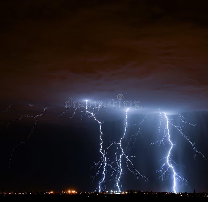 Tucson Lightning. Lightning storm over Tucson, AZ royalty free stock images