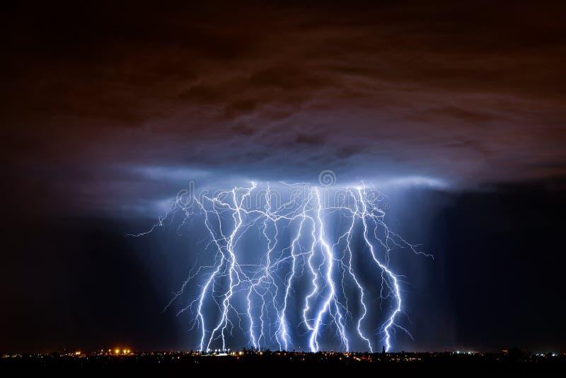Tucson Lightning. Lightning storm over Tucson, AZ stock images