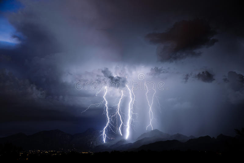 Tucson Lightning. Lightning storm over Tucson, AZ royalty free stock photo