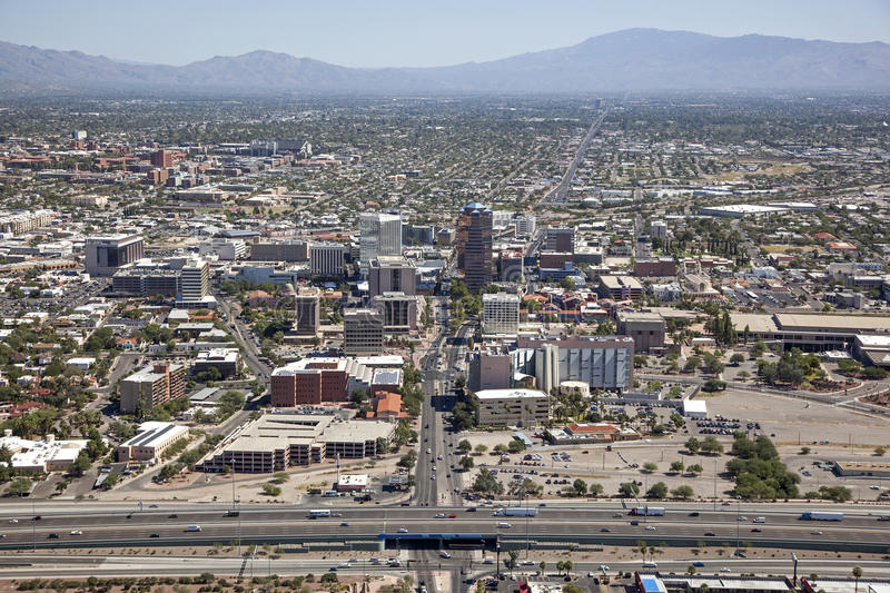 Tucson Skyline. Includes downtown, Arizona campus and Santa Catalina Mountain range royalty free stock photos