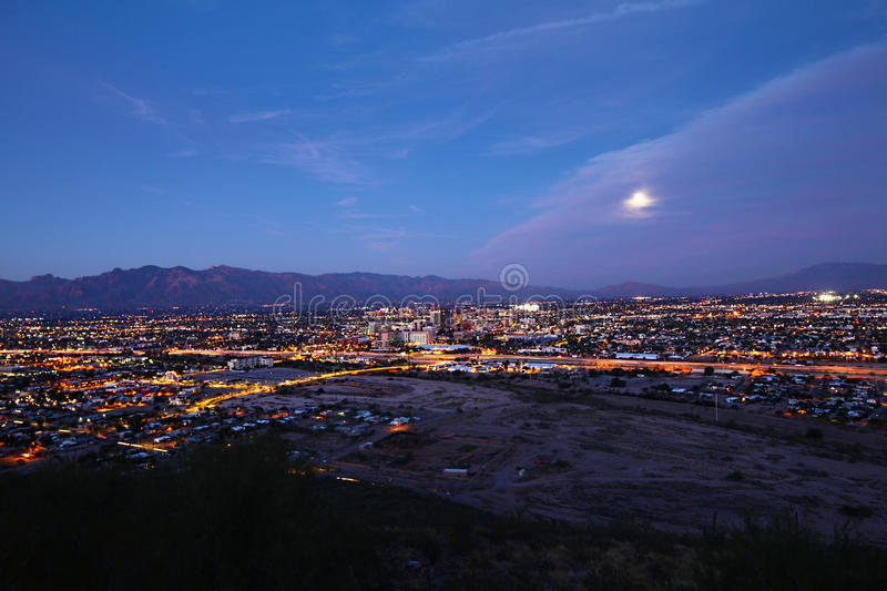 The Tucson skyline at night. The Tucson, Arizona skyline at night royalty free stock photo