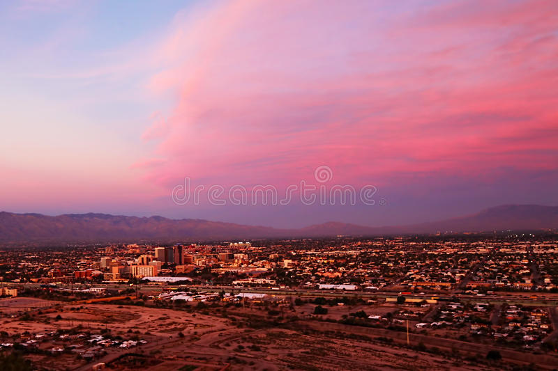 The Tucson skyline at sunset. The Tucson, Arizona skyline at sunset royalty free stock photography