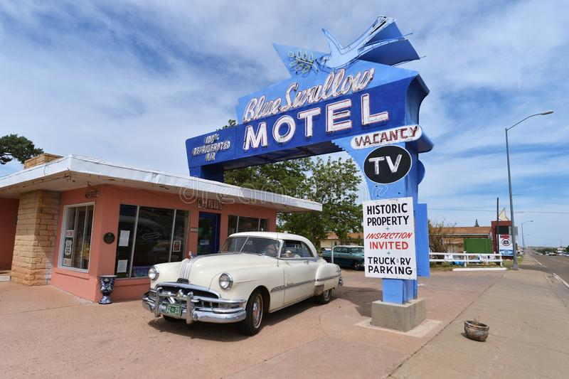 Tucumcari, New Mexiko, USA, am 25. April 2017: Altes Motel auf Route 66 lizenzfreies stockbild