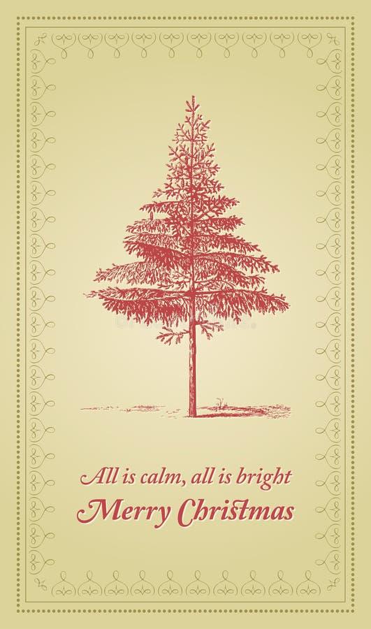 Tudo é calma, toda é brilhante - cartão de Natal ilustração royalty free