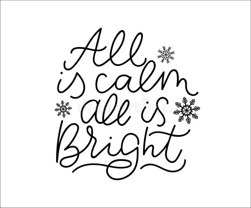 Tudo é calmo todo é cartaz de rotulação inspirado do inverno brilhante Cart?o inspirador do vetor ilustração do vetor