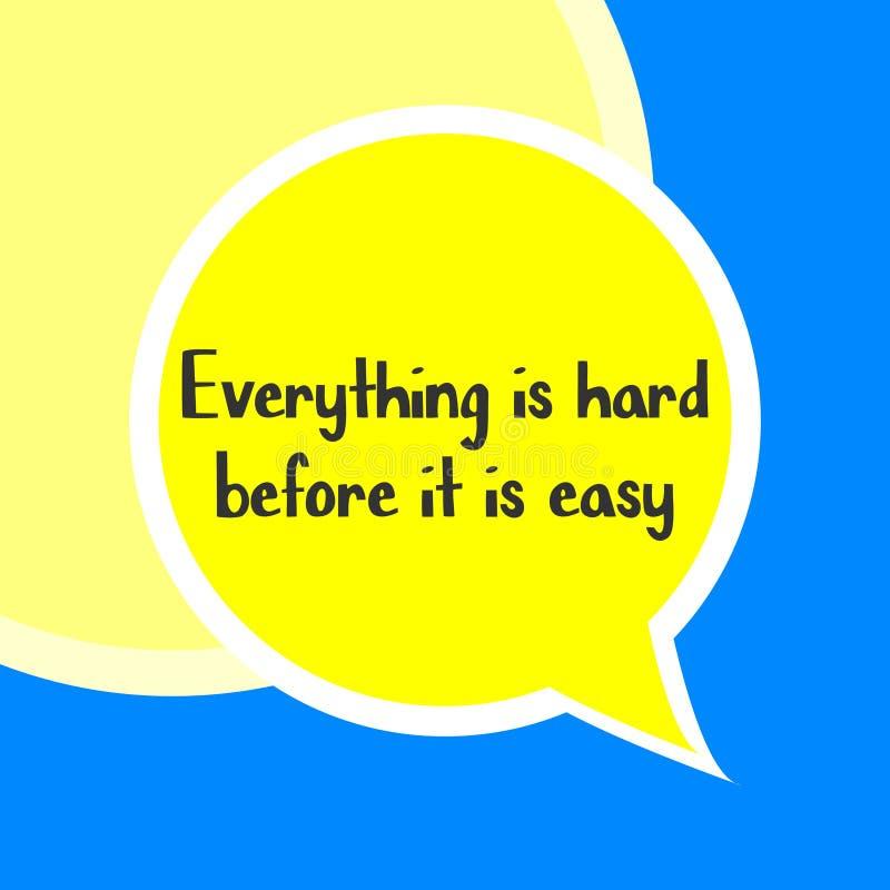 Tudo é duro antes que esteja palavra fácil em conceitos da educação e da motivação ilustração do vetor